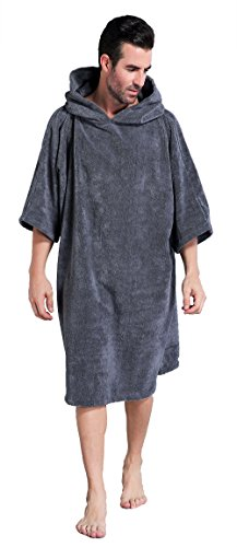 Winthome Changing Towel Poncho Robe with Hood | One Size Fits All(Grey - His Perfect Gifts