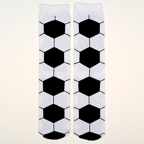 Bits and Pieces - Novelty Socks - Soccer - Silly Socks - Machine Washable - Cotton-Rich Socks, Fun Great Gift - White/Black - Adult Size 6-12 - His Perfect Gifts