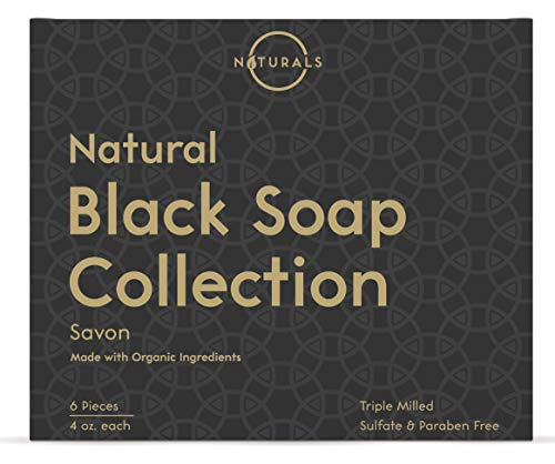 O Naturals 6-Piece Black Soap Bar Collection. 100% Natural. Organic Ingredients. Helps Treat Acne, Repairs Skin, Moisturizes, Deep Cleanse, Luxurious. Face & Body Women & Men. Triple Milled, Vegan 4oz - His Perfect Gifts