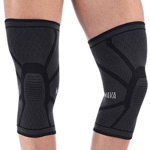 Mava Sports Knee Compression Sleeve Support, Pair (Black, Large) - His Perfect Gifts