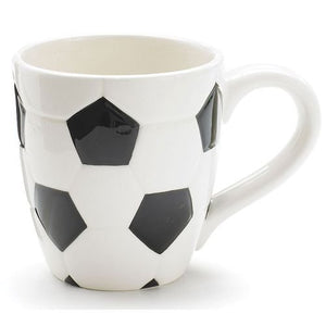 Ceramic Soccer Ball Design Sports Coffee Tea Mug with Handle Great Gift Idea for Coaches, Soccer Fans, Soccer Players - Black/White, 15 Oz - His Perfect Gifts