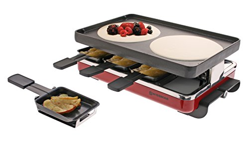 Swissmar KF-77046 Classic 8 Person Raclette with Reversible Cast Iron Gril Plate/Crepe Top, Red - His Perfect Gifts