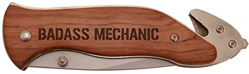 Badass Mechanic Laser Engraved Stainless Steel Folding Survival Knife - His Perfect Gifts