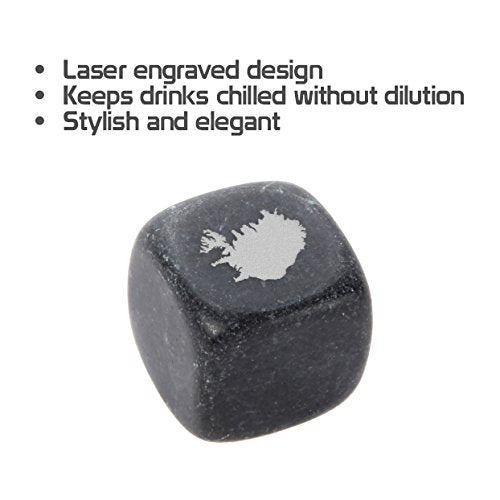 Iceland Whiskey Stones Set - Granite Chilling Stones For Whiskey And Other Liquor - Ideal Gifts For Alcohol Drinkers. Laser Engraved In The Usa. - His Perfect Gifts