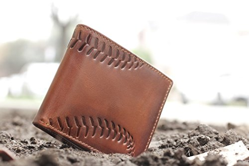 HOJ Co. BASEBALL Wallet-Double ID Bifold-Full Grain Mens Leather Wallet-Multi Card Capacity-Coach Gift - His Perfect Gifts