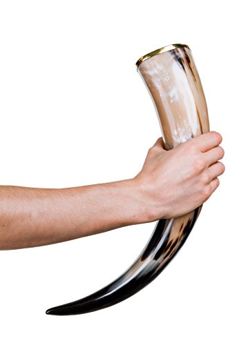 THOR HORN Large Viking Drinking Horn with Stand – Authentic & Food Safe Cup – No Leaks – Norse Drinking Beer Mug with 20 oz Capacity – Preferred Choice of Vikings & Game of Thrones Fans - His Perfect Gifts