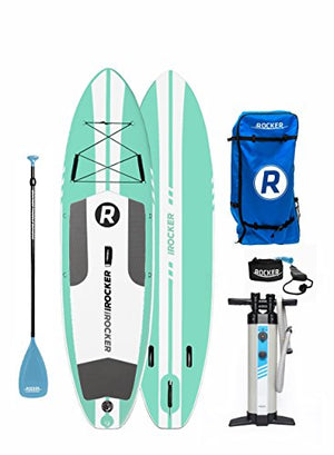 "iROCKER All-Around Inflatable Stand Up Paddle Board 10' Long 32"" Wide 6"" Thick SUP Package (Seafoam Green 2018) - His Perfect Gifts"