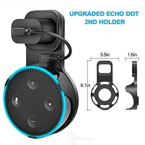 Yuanling Outlet Wall Mount Hanger Stand for Dot 2nd Generation, A Space-Saving Solution for Your Smart Home Speakers Without Messy Wires or Screws (Black 2 Pack) - His Perfect Gifts