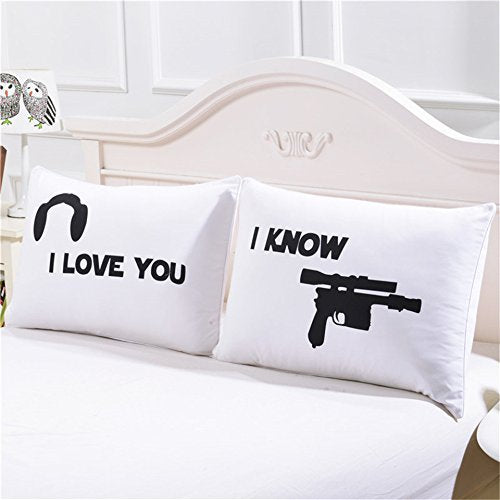 "Couples Pillow Cases, ""I Love You""&""I Know"" Couple Pillow Covers, Romantic Gift Idea for Couples, Anniversary, Wedding, Engagement, Set of 2 Printed Pillowcases for Him and Her in Love, 30x20inches - His Perfect Gifts"