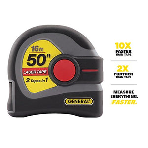 General Tools LTM1 2-in-1 Laser Tape Measure, LCD Digital Display, 50' Laser Measure, 16' Tape Measure - His Perfect Gifts