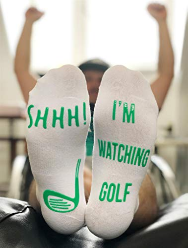 Funny Golf Socks 'Shhh, I'm Watching Golf' Ankle/Lounge Socks - Great Gift For a Golfer - His Perfect Gifts