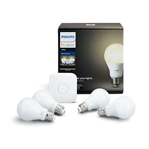Philips Hue White A19 60W Equivalent LED Smart Bulb Starter Kit (4 A19 White Bulbs and 1 Hub Compatible with Amazon Alexa Apple HomeKit and Google Assistant) - His Perfect Gifts