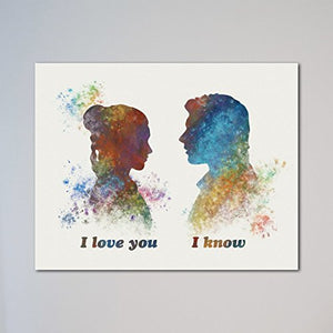 "Star Wars Han Solo and Leia I love you I know 11"" x 14"" Print - His Perfect Gifts"