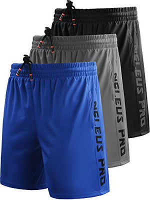 "Neleus Men's 7"" Workout Running Shorts with Pockets,6056,3 Pack,Black,Grey,Blue,XL,EU 2XL - His Perfect Gifts"