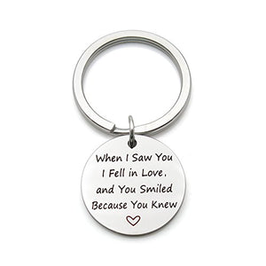 When I Saw You I Fell in Love Stainless Steel Romantic Valentine's Day Gift Pendant Keychain Key Ring - His Perfect Gifts