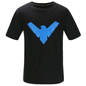 Justice League Batman Nightwing Logo T Shirt by Short Sleeve With The Dick Grayson Symbol – Black and Blue DC Comics Superhero Apparel For Men – Made Of Soft Cotton and Polyester (Black, XL) - His Perfect Gifts