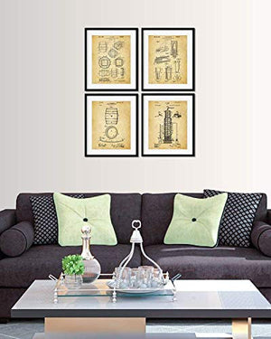 wall art decor for coffee drinkers Unframed set of Four 8x10 Coffee Patent Patent Wall Art Prints