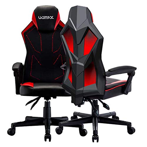 UOMAX Gaming Chairs, Ergonomic Computer Chair for Gamers, Reclining Racing Chair with LED Lights, Armrests and Lumbar Cushion.(Red) - His Perfect Gifts
