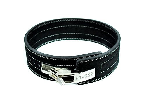 Flexz Fitness Lever Buckle Powerlifting Belt 10mm Weight Lifting Black Medium - His Perfect Gifts