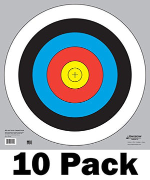 60 cm / 24 in Bullseye Archery and Gun Targets by Longbow Targets (pk of 10) - His Perfect Gifts