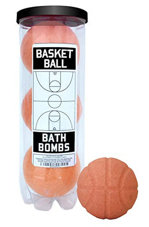 Basketball Bath Bombs - 3 pack - Luxury Scented Bath Bomb Fizzies - Great Gift for Basketball players, Teammates, Opponents, AAU, Leagues, Birthdays, Men, Boys, Women, Girls - His Perfect Gifts