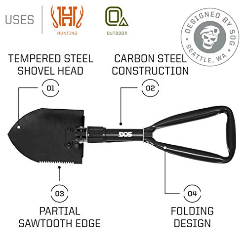 SOG Folding Shovel Survival Shovel – Entrenching Tool 18.25 Inch Foldable Shovel Camping Shovel w/ Wood Saw Edge and Tactical Shovel Carry Case (F08-N) - His Perfect Gifts