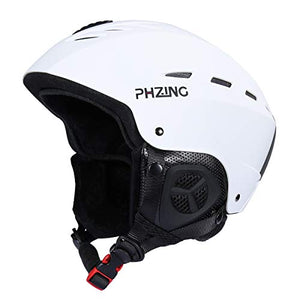 PHZING Adults Ski Snowboard Sport Helmet for Men - Air Flow Control Adjustable Fit (White, M/L) - His Perfect Gifts