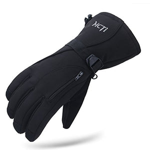 MCTi Waterproof Mens Ski Gloves Winter Warm 3M Thinsulate Snowboard Snowmobile Cold Weather Gloves Black Large - His Perfect Gifts