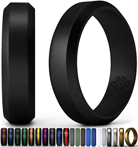 Knot Theory Silicone Wedding Ring for Men Black 6mm - Size 13 Rubber Wedding Rings Band - Ideal Athletic Husband Gifts from Wife - Enhanced Style, Safety, Comfort for Gym, Work, Sports, Travels - His Perfect Gifts