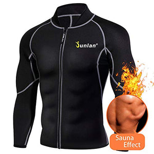 Men's Neoprene Weight Loss Sauna Shirt Suit Long Sleeve Hot Sweat Body Shaper Tummy Fat Burner Slimming Workout Gym Yoga (Black, 4XL) - His Perfect Gifts