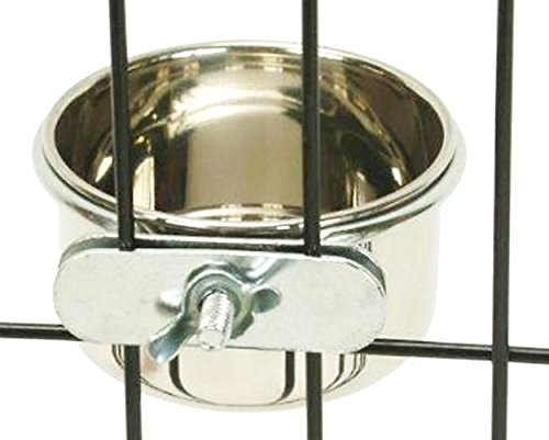 Bonka Bird Toys 800120 Stainless Steel 5 oz Cage Coop Clamp Bolt Cup Bird Cages Dog Food Water Bowl Feeder Crate Kennel Pet Dish Small Feeding - His Perfect Gifts