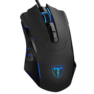 PICTEK Gaming Mouse Wired [7200 DPI] [Programmable] [Breathing Light] Ergonomic Game USB Computer Mice RGB Gamer Desktop Laptop PC Gaming Mouse, 7 Buttons for Windows 7/8/10/XP Vista Linux, Black - His Perfect Gifts