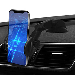 Car Phone Mount, 2in1 Windshield Dashboard Cell Phone Holder - Universal Smartphone Car Mount Holder for iPhone Xs Max/Xs/XR/X/8/8 Plus/7/7 Plus/5S, Galaxy S9+/S9/S8/S7, Google LG Nexus Sony and More - His Perfect Gifts