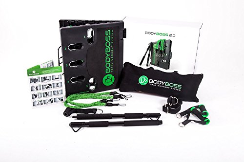 BodyBoss Home Gym 2.0 - Full Portable Gym Home Workout Package, Includes 1 Set of Resistance Bands (2) - Collapsible Resistance Bar, 2 Handles + More - Full Body Workouts for Home, Travel or Outside - His Perfect Gifts