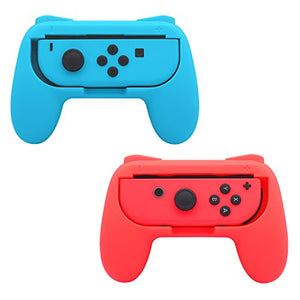 FastSnail Grips compatible with Nintendo Switch Joy Cons, Wear-resistant Handle, 2 Pack (Red and Blue) - His Perfect Gifts
