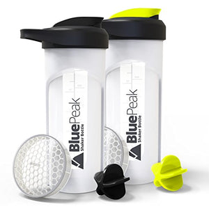 BluePeak Protein Shaker Bottle 28-Ounce, 2-Pack, with Dual Mixing Technology. BPA Free, Shaker Balls & Mixing Grids Included (Yellow-Black) - His Perfect Gifts