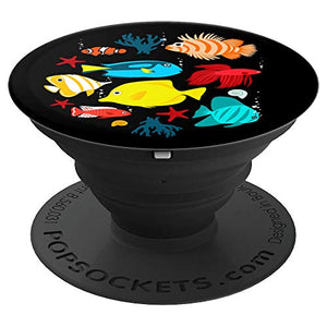 Tropical fishes aquarium under ocean graphic design - PopSockets Grip and Stand for Phones and Tablets - His Perfect Gifts