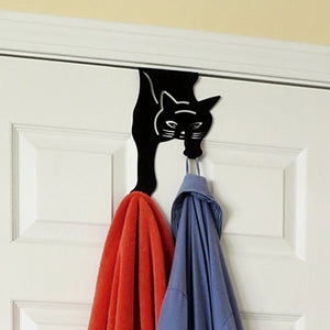 Evelots Over the Door Hanger-Kitty Cat-2 Hooks-20 Pound ea.-No Tool-No Rust Iron - His Perfect Gifts