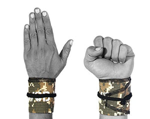 Wrist Wraps for Fitness, Cross Training, Exercise, Bodybuilding, Olympic Weightlifting - Colors for Men and Women - Once Size Fits All - 100% (Camo/Black) - His Perfect Gifts