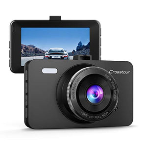 "Crosstour Dash Cam 1080P Car Driving Camera Recorder DVR Full HD 3"" LCD Screen 170°Wide Angle, WDR, Loop Recording and Motion Detection - His Perfect Gifts"