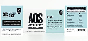Art of Sport Body Bar Soap (4-Pack), Rise Scent, with Activated Charcoal, Tea Tree Oil, and Shea Butter, 3.75 oz - His Perfect Gifts