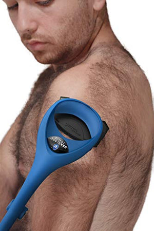 BAKblade 2.0/ELITE PLUS - Back Hair Removal and Body Shaver (DIY), Easy to Use Ergonomic Handle for a Close, Pain-Free Shave, 3 of the Wet or Dry Disposable Razor Blades, Scrubbing Sleeve Included - His Perfect Gifts
