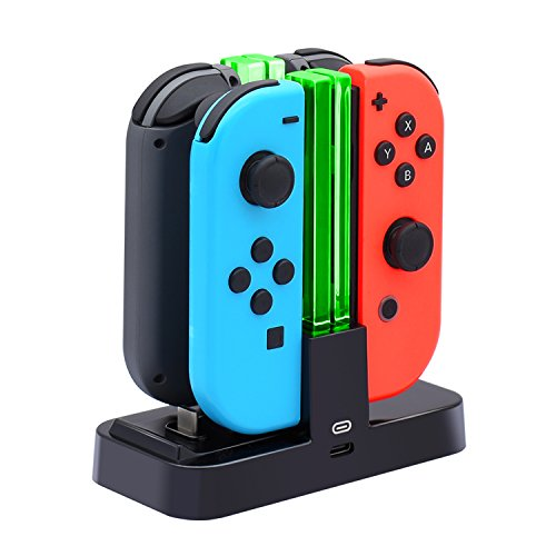 FastSnail Controller Charger for Nintendo Switch, Charging Dock Stand Station for Switch Joy-con and Pro Controller with Charging Indicator and Type C Charging Cable - His Perfect Gifts
