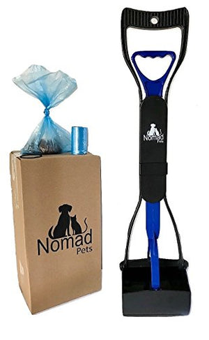 Nomad Pets Pooper Scooper Set for Dogs with Blue Poop Bags - Perfect for Small, Medium, Large, XL Pets - Best Long Handle Scoop - Portable and Heavy Duty with Jaw Claw Bin - Great in Grass - His Perfect Gifts
