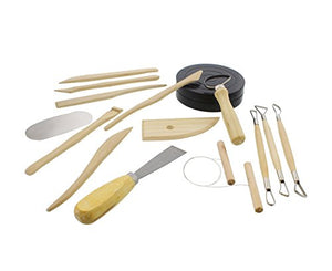 7Penn Clay Pottery Sculpting Supplies Wooden Tools Set – Knives, Bat, Shovel, Cut Wire, Sponge, Spray Bottle, Turntable - His Perfect Gifts