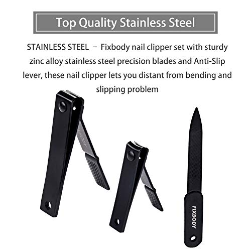 FIXBODY Nail Clipper Set – Black Stainless Steel Fingernails & Toenails Clippers & Nail File Sharp Nail Cutter with Leather Case, Set of 3 (Straight & Curved) - His Perfect Gifts