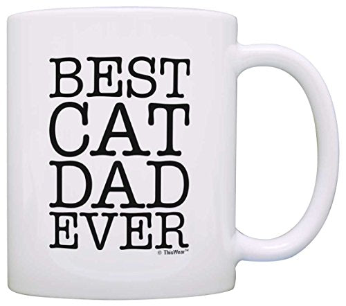 Cat Lover Gifts Best Cat Dad Ever Pet Owner Rescue Gift Coffee Mug Tea Cup White - His Perfect Gifts