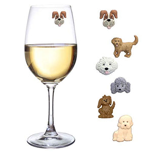 Simply Charmed Magnetic Dog Wine Charms or Glass Markers for Stemless Glasses - Great Birthday or Hostess Gift for Dog Lovers - Set of 6 Cute Puppy Glass Identifiers - His Perfect Gifts