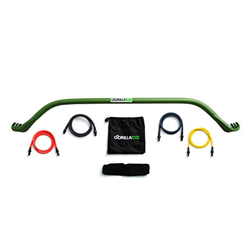 Gorilla Bow Portable Home Gym Resistance Band System | Weightlifting & HIIT Interval Training Kit | Full Body Workout Equipment (Green) - His Perfect Gifts