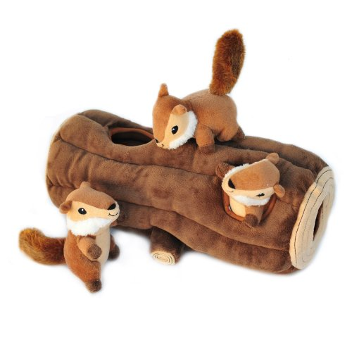 ZippyPaws - Woodland Friends Burrow, Interactive Squeaky Hide and Seek Plush Dog Toy - Chipmunks 'n Log - His Perfect Gifts